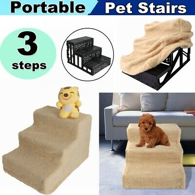 Portable Pet Stairs 3 Steps Ramp Small Cat Dog Climb Ladder For High Tall Bed