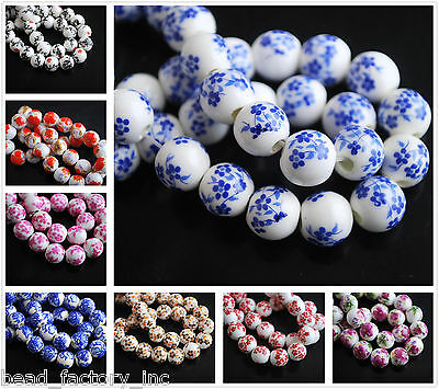 Multicolor 100pcs 10mm Flower Designs Ceramic Beads Round Porcelain Loose Beads