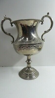 Vintage Silver Plate Ep Trophy Engraved 2 Handle Urn Thomas Otley Sons