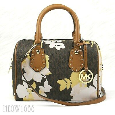 b0a22ad23ba277 Michael Kors ARIA Brown Signature Logo Floral Small Crossbody Satchel Purse