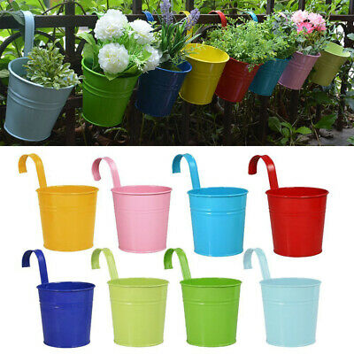 10PCS Metal Iron Flower Pot Hanging Balcony Plant Holder Fence Pots Garden Decor