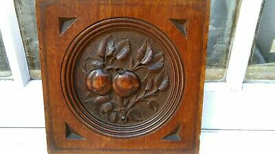 Antique Mahogany Colour Carved Wood Apple Tree Wall Or Furniture Plaque Hanging