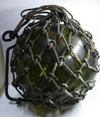 Large Antique Green Glass Ship Fishing Float Buoy Rope Netting Metal Bracket