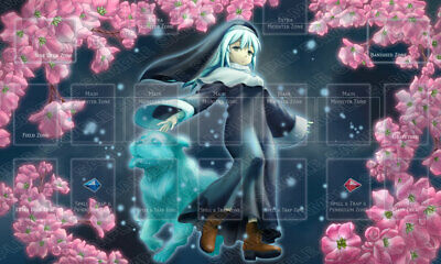 Playmat Ghost Sister & Spooky Dog • with Link Zones • Ghost Girl Playmat Yugioh