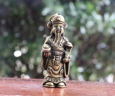 4 CM Chinese Pure Bronze God of Wealth Fortune Mammon Fengshui Statue Pendant