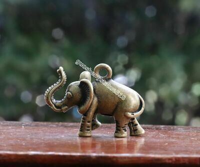 4 CM China Bronze Copper Jewelry Handwork Lucky Blessing Elephant Amulet Pendant