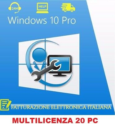 Windows 10 Professional Pro Key 32/64 Bit MultiLicenza Retail 20 Computer Esd