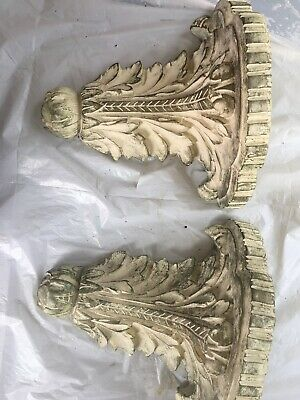 Pair of Antique Leaf Wall Shelf Corbel Sconce