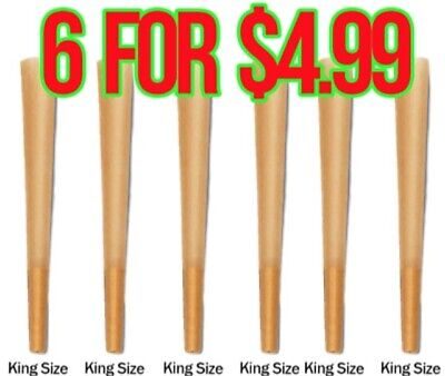 RAW King Size Authentic Pre Rolled Cones 6 count w/ Filter