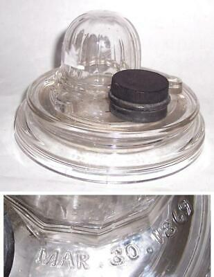 Antique Domed Glass Inkwell Patent Date 1869, Hand Blown?