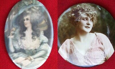 Two Different Antique Gentlenam's Pretty Lady Pocket Mirrors