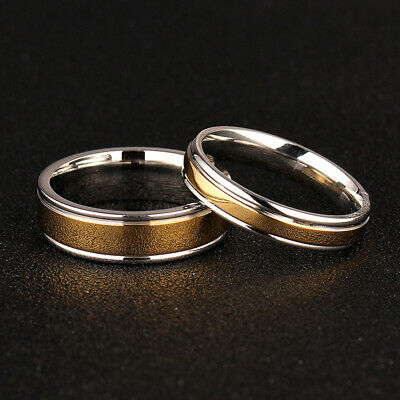 Couple Rings Plating Stainless Size 316L Engagement Jewelry 5-13 Gold Steel Band