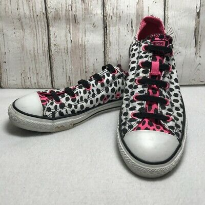 Converse All Star girls Junior Sneakers Shoes Low Top cheetah print size 4 pink