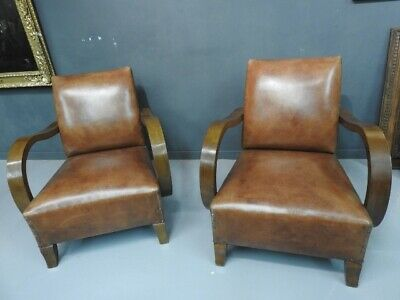 Pair of Antique Chairs Art Deco' Years 30 40 Leather Classic