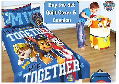 Paw Patrol Puptacular Single Bed Size Quilt Duvet Cover And Cushion Set Bedroom