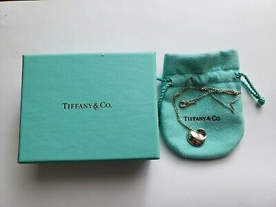 Authentic Tiffany & Co Sterling Silver 925 Puffed Heart Recessed Corner Necklace