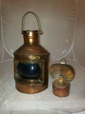 "Vintage Hong Kong Nautical Oil Lamps Copper Lantern Cwc ""starboard"""