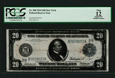 Fr 968 $20 1914 FEDERAL RESERVE NOTE - NEW YORK- WHITE / MELLON B 7878637 A PMG