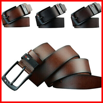 Mens Work Belt Business Waistband Buckle Belts PU Leather Dress AU 3 Colors Pin