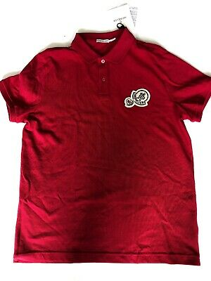 6256c47ae MONCLER MAGLIA MULTI Double Logo Patch Polo Red T-Shirt Tee Signature Size  L NEW