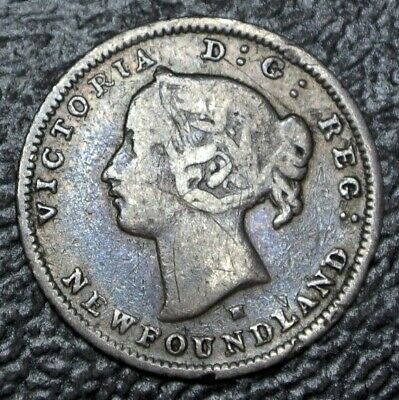 OLD CANADIAN COIN 1876 H NEWFOUNDLAND - 5 CENTS - .925 SILVER - Victoria - Nice