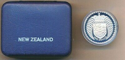 New Zealand: 1979 $1 QEII  0.84oz Silver  Proof Crown sized coin cased