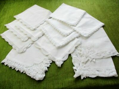 "DINNER NAPKINS-CROCHET/TAPE LACE DECORATION-COL.12-WHITE-16""sq."