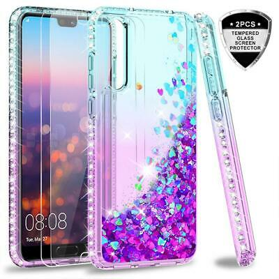 Case Huawei P20 Pro Tempered Glass Screen Protector Glitter Clear 2Pcs Silicone