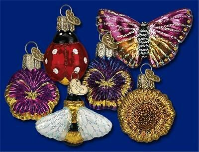 Box Of 6 Mini Garden Old World Christmas Glass Flower Insect Ornaments Nib 14015