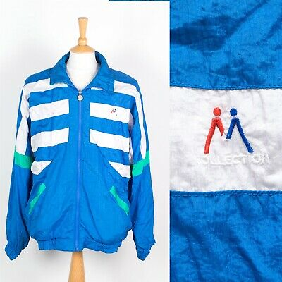 4302c240 Mens Vintage 90'S Shell Suit Tracksuit Top Jacket Blue And White Nineties Xl