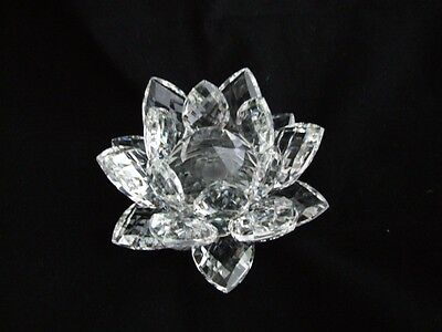 Large Clear Star Crystal Glass Lotus Flower with Clear Petals.