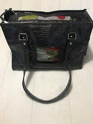 "BOW-WOW Pet Luxury Dog or Cat Carrier Designer Bag Purse Black 16""x11""x9"" #6080"