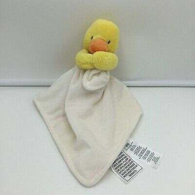Carters White Yellow Duck Baby Security Blanket Lovey Rattle Orange