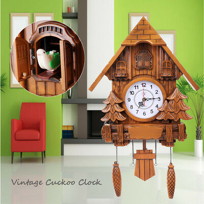 Vintage Europea Cuckoo Wall Clock Forest Swing Wood Handmade Kitchen Home