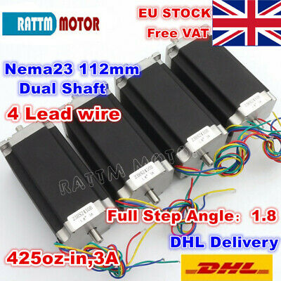 【UK】4Pcs Nema23 112mm 425Oz-in Dual Shaft CNC Stepper Motor 3A Stepping Motor