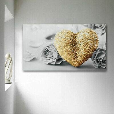 45x80cm Gold Heart Rose Canvas Wall Art Painting Pictures Home Decor Frameless
