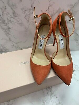 8119ecbcd9 Jimmy Choo Lucy Suede Pumps   Orange   Size 6   Excellent Condition
