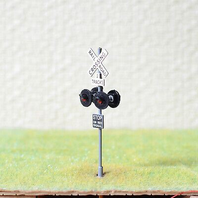 1 x OO / HO scale railroad crossing signal LED made 4 target faces silver #2GR4