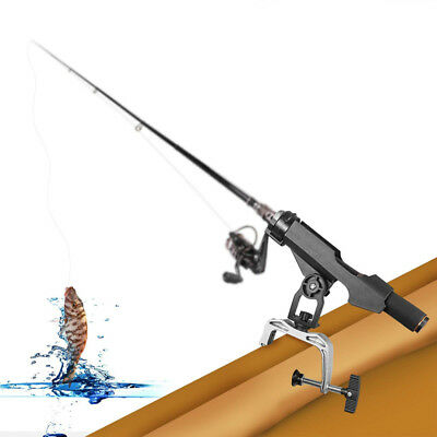 Rotating Boat Raft Fishing Rod Pole Holder 360 Degree with Large Clamp Opening