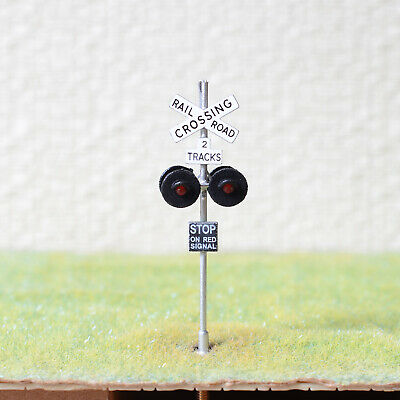 1 x OO / HO scale railroad crossing signal LED made 4 target faces silver #2SL4X