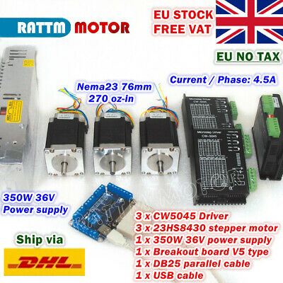 【EU】3 Axis Nema23 76mm 270oz-in Stepper Motor+CW5040 Driver 4.5A for CNC Router