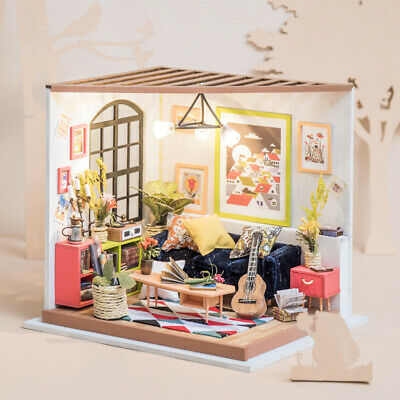 Robotime DIY Dollhouse Miniature Kits Wooden Sitting Room Toy for Teens Children