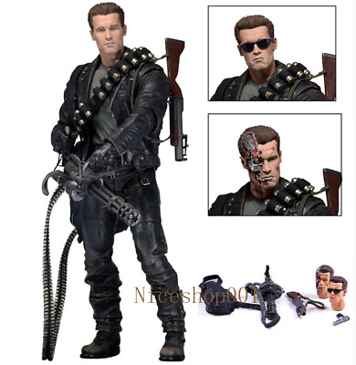 """NECA Terminator 2 Judgment Day T-800 Ultimate Deluxe Arnold 7"""" Action Figure New"""