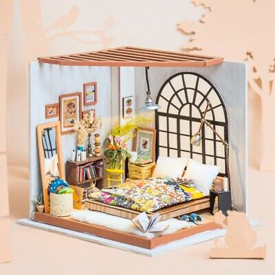 ROBOTIME DIY Bedroom Dollhouse with LED Miniature Furniture Doll House Toy 1:24