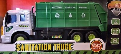 Friction Powered Large Garbage Truck Toy Lights & Sounds Boys Girls Toys 1:16