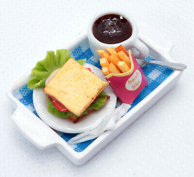 Dollhouse Miniature Food Sandwich,French Fries and Coffy,Tiny Food 1:12 Scale
