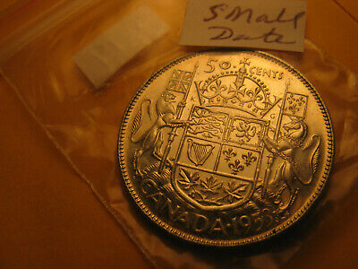 1953 Canada 50 Cent Silver Coin Small Date Variety IDJ319.