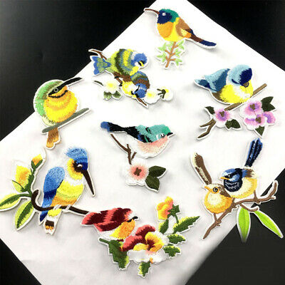 Lot Flower Bird Embroidery Sew Iron On Patches Badge Clothes Bag Applique Craft