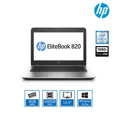"HP EliteBook 820 G3 12.5"" Business Laptop Intel Core i5, 4GB, 500GB, Win 10 Pro"