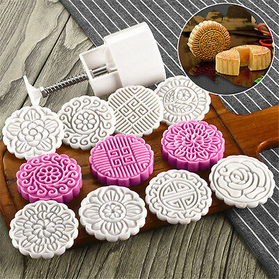 8 Style Stamps 100g Round Flower Moon Cake Mold Mould White Set Mooncake Decor !